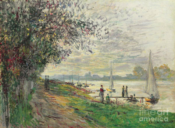 Wall Art - Painting - The Bank Of Petit-gennevilliers, Setting Sun, 1875 by Claude Monet