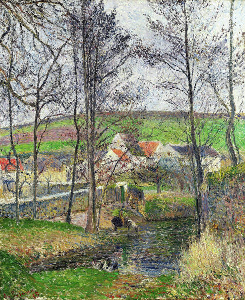 Country Living Painting - The Banks Of The Viosne At Osny In Grey Weather, Winter - Digital Remastered Edition by Camille Pissarro