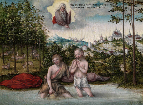 Cranach Painting - The Baptism Of Christ, 1530 by Lucas Cranach