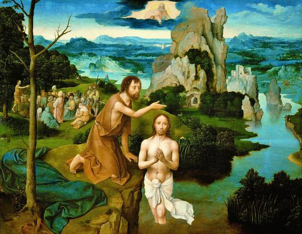 Wall Art - Painting - The Baptism Of Christ - Digital Remastered Edition by Joachim Patinir