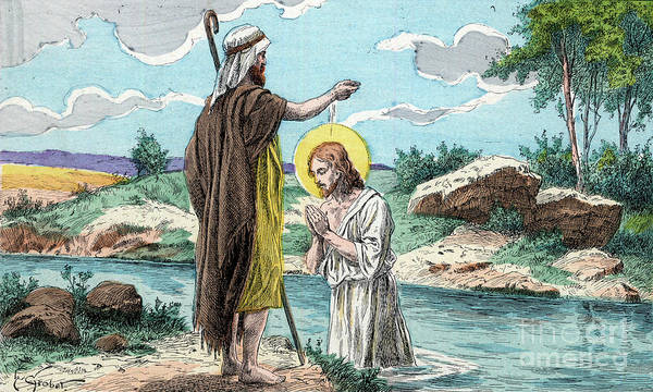 Wall Art - Drawing - The Baptism Of Jesus by Henri Grobet