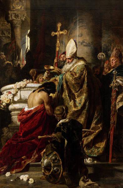 Dedication Painting - The Baptism Of Vajk, 19th Century by Gyula Benczur