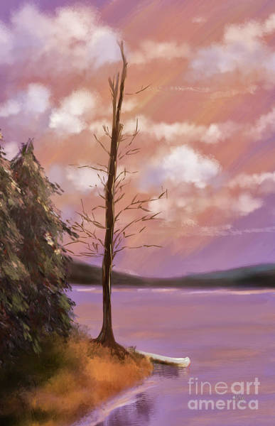 Spring Mountains Digital Art - The Bare Tree At Sunset  by Lois Bryan