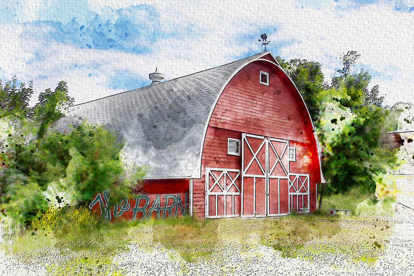 Wall Art - Photograph - The Barn, Watercolor by Two Small Potatoes