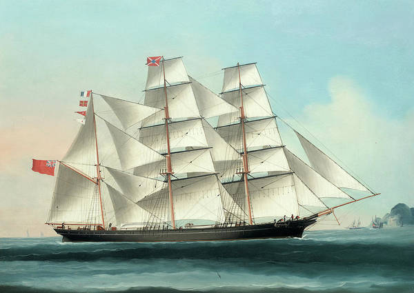 Wall Art - Painting - The Barque Glenaros Of London, Hong Kong In The Distance by Unknown 19th century