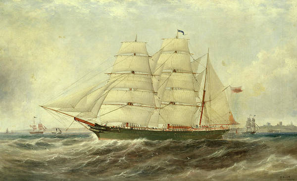 Subject Wall Art - Painting - The Barque Petunia Off Tynemouth by John Scott
