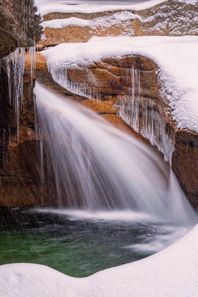 Pemigewasset River Wall Art - Photograph - The Basin, Close Up In A Winter Storm by Jeff Sinon