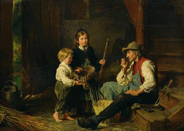 Rural Life Wall Art - Painting - The Basket Weaver's Apprentices by Felix Schlesinger