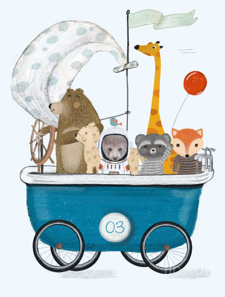 Wall Art - Painting - The Bath Cart by Bri Buckley