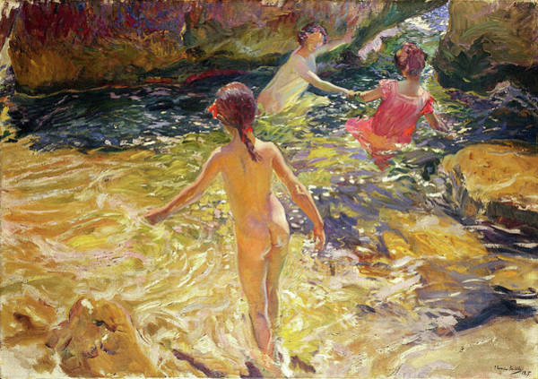 Wall Art - Painting - The Bath, Javea - Digital Remastered Edition by Joaquin Sorolla