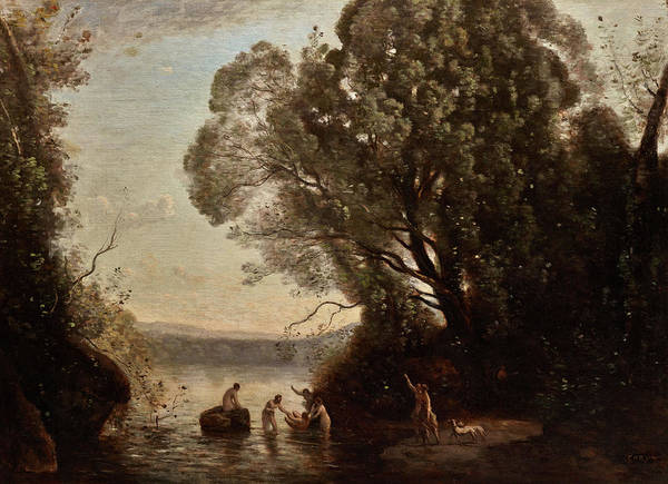 Artemis Wall Art - Painting - The Bath Of Diana by Jean-Baptiste-Camille Corot