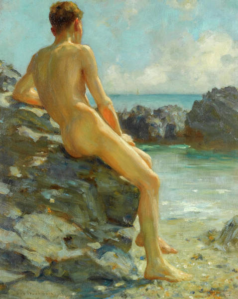 Wall Art - Painting - The Bather, 1924 by Henry Scott Tuke