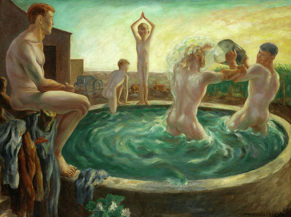 Trough Wall Art - Painting - The Bathers, 1928 by John Steuart Curry