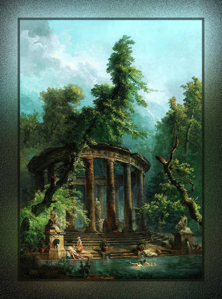 Painting - The Bathing Pool By Hubert Robert by Xzendor7