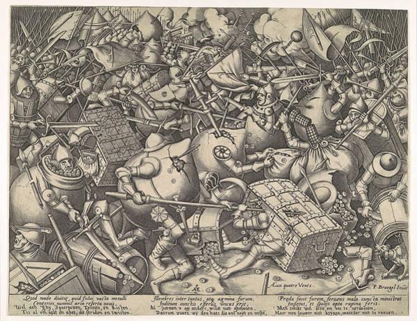 Drawing - The Battle About Money by Pieter van der Heyden