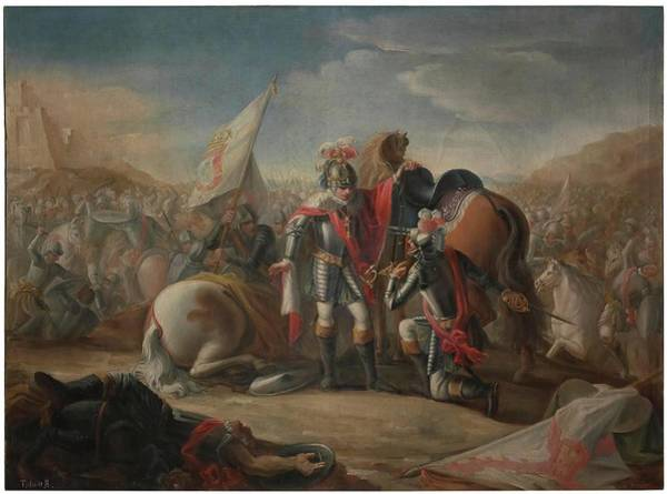 Castilla Painting - 'the Battle Of Aljubarrota'. 1791. Oil On Canvas. John I Of Portugal. by Mariano Salvador Maella -1739-1819-