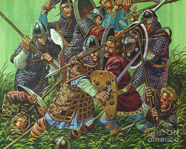 Wall Art - Painting - The Battle Of Hastings, 1066 Ad, Fought With Spears, Swords And Axes  by Ron Embleton