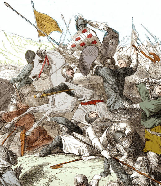 Wall Art - Drawing - The Battle Of Hattin, 4th July 1187 by French School