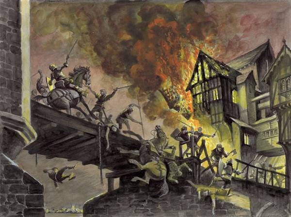 Flaming Sword Painting - The Battle Of London Bridge by Peter Jackson