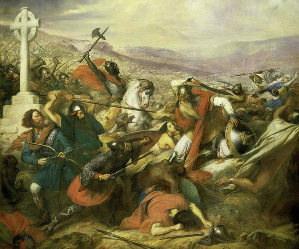 Wall Art - Painting - The Battle Of Poitiers, 732 by Charles de Steuben
