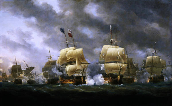 Wall Art - Painting - The Battle Of Quiberon Bay By Nicholas Pocock by Xzendor7