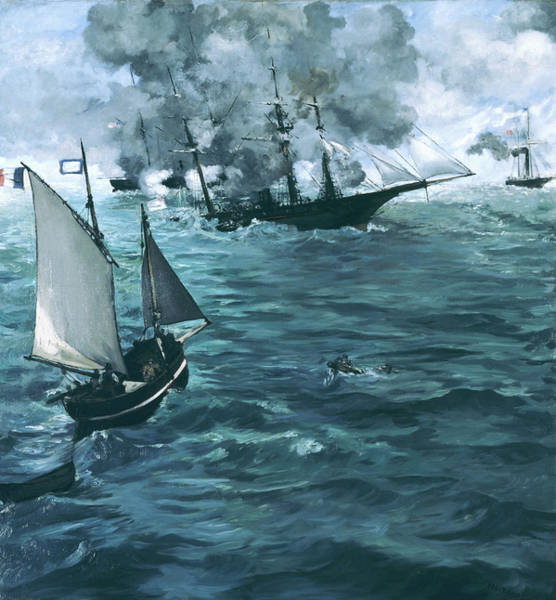 Manet Wall Art - Painting - The Battle Of The Uss Kearsarge And The Css Alabama - Digital Remastered Edition by Edouard Manet