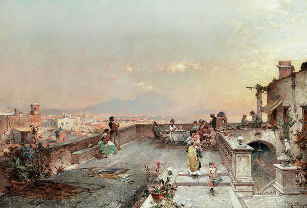 Wall Art - Painting - The Bay Of Naples With Vesuvius by Franz Richard Unterberger
