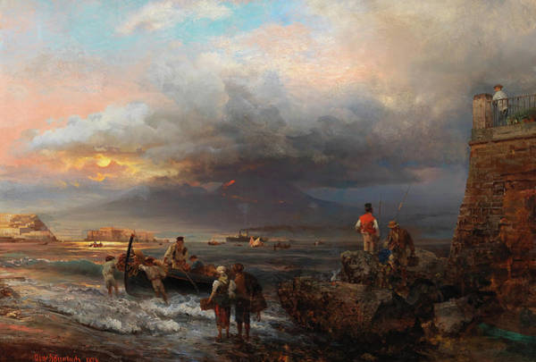 Wall Art - Painting - The Bay Of Naples With Vesuvius In The Background by Oswald Achenbach