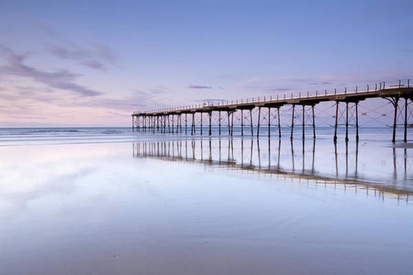 Cleveland Scene Photograph - The Beach And Pier At Saltburn By The by Roger Coulam