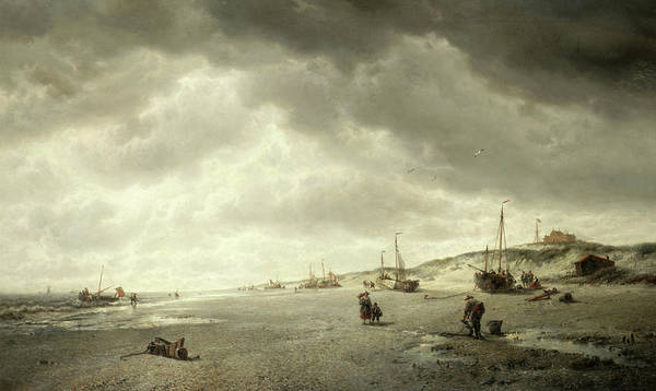 Ocean Scape Painting - The Beach At Nieuport On The Flemish Coast by Francois-Etienne Musin