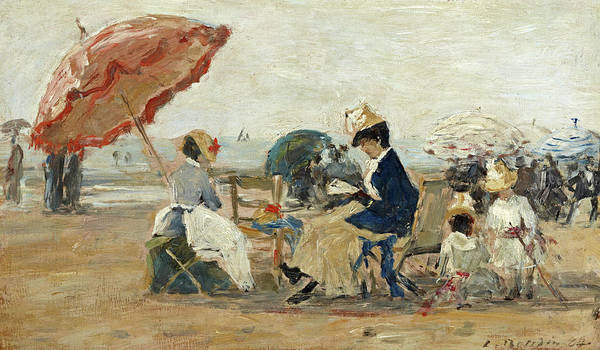 Wall Art - Painting - The Beach At Trouville, 1884 by Eugene Louis Boudin