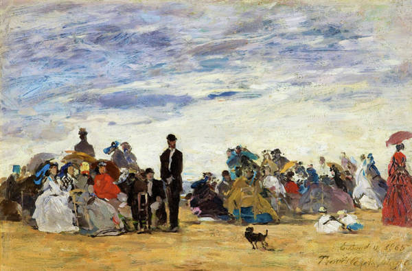 Live Music Painting - The Beach At Trouville - Digital Remastered Edition by Eugene Louis Boudin