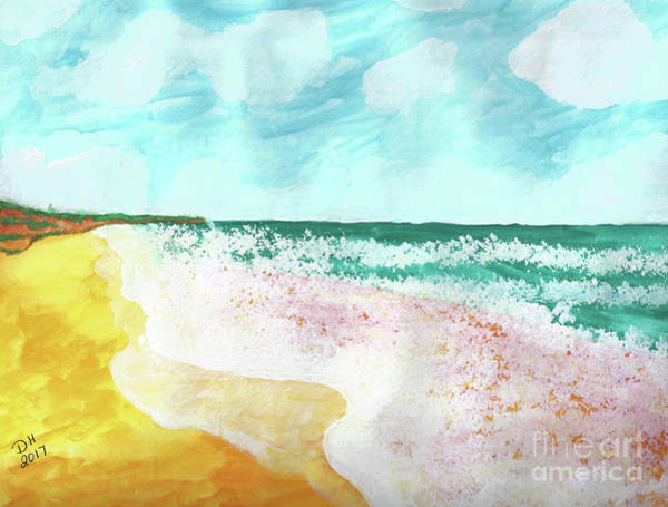 Painting - The Beach - Watercolor by D Hackett