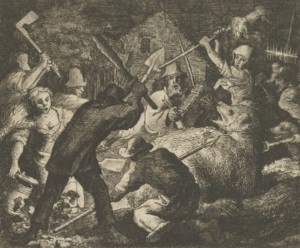 Relief - The Bear Is Attacked By The Peasants by Allaert van Everdingen