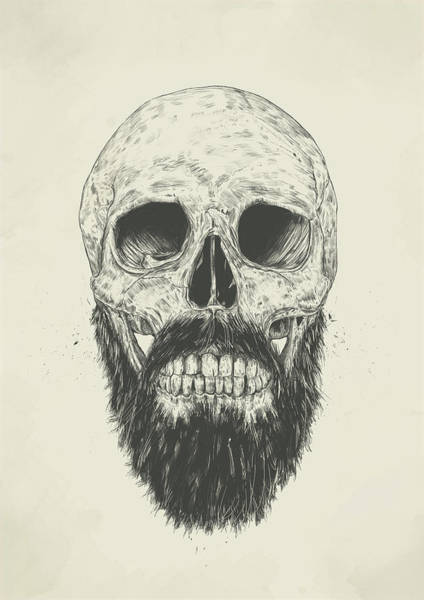 Skulls Wall Art - Drawing - The Beard Is Not Dead by Balazs Solti