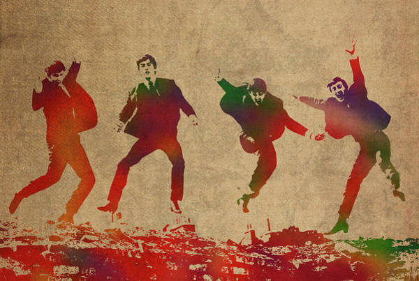 Watercolor Portrait Mixed Media - The Beatles Watercolor Portrait by Design Turnpike