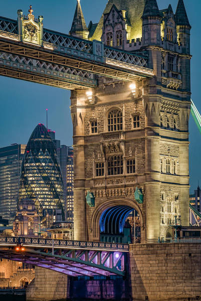 Wall Art - Photograph - The Beautiful Tower Bridge In London Seen At Night by George Afostovremea