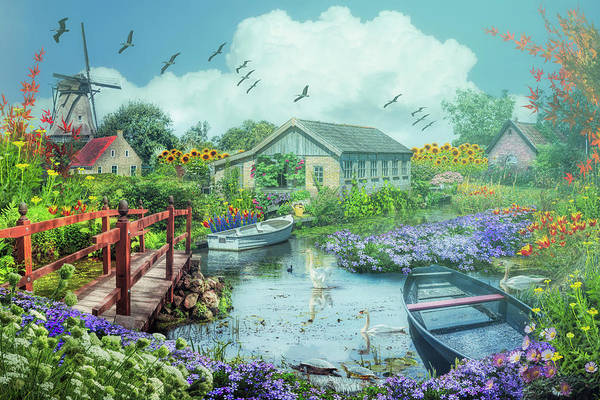 Digital Art - The Beauty Of Flowers In Holland On A Misty Morning by Debra and Dave Vanderlaan