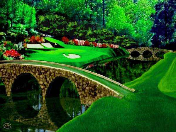 Country Club Painting - The Beauty Of The Masters Cropped Version by Ron Chambers