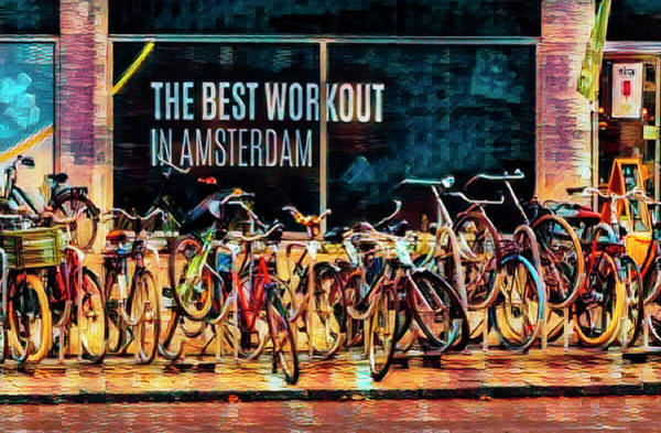 Photograph - The Best Workout In Amsterdam Colorful Painting by Debra and Dave Vanderlaan