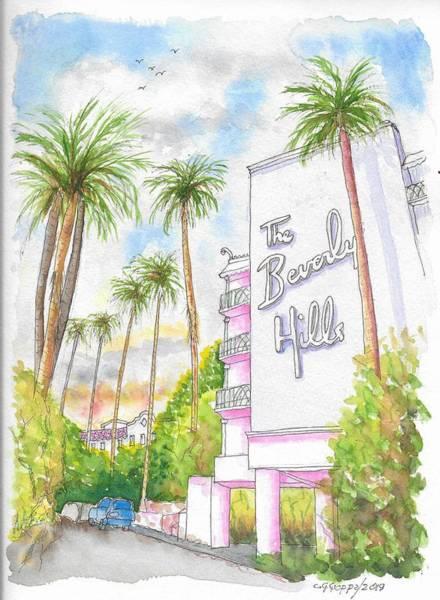 California Hills Painting - The Beverly Hills Hotel In Sunset Blvd., Beverly Hills, California by Carlos G Groppa