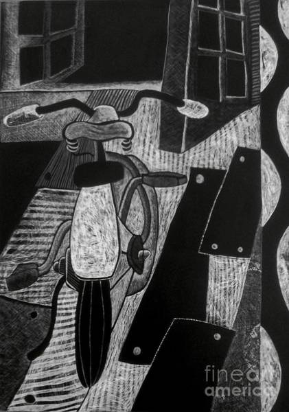 Drawing - The Bicycle. by Cindy Suter