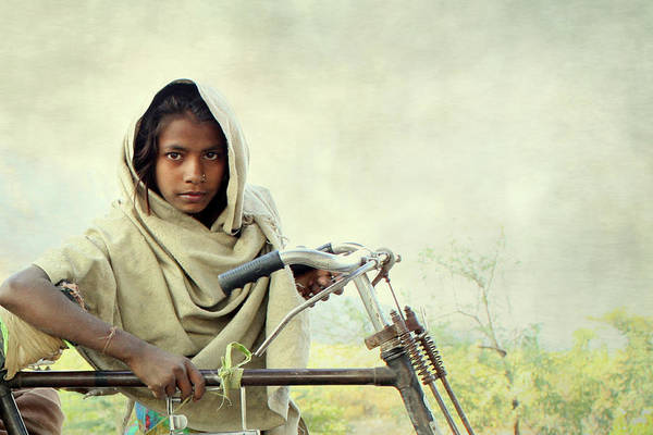 Adolescence Photograph - The Bicycle Girl by Atul Tater