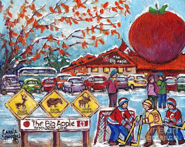 Painting - The Big Apple 401 Transcanada Roadside Attraction Drive-in Restaurant C Spandau Canadian Paintings  by Carole Spandau
