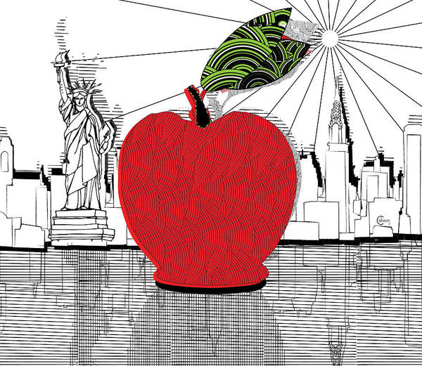 Drawing - New York...the Big Apple by Cecely Bloom
