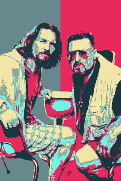 Digital Art - The Big Lebowski Revisited - The Dude And Walter No.2 by Serge Averbukh