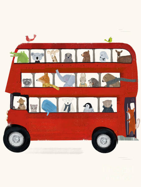 Wall Art - Painting - The Big Little Red Bus by Bri Buckley