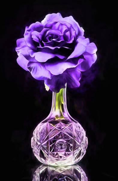 Purple Rose Digital Art - The Big Purple Rose by JC Findley