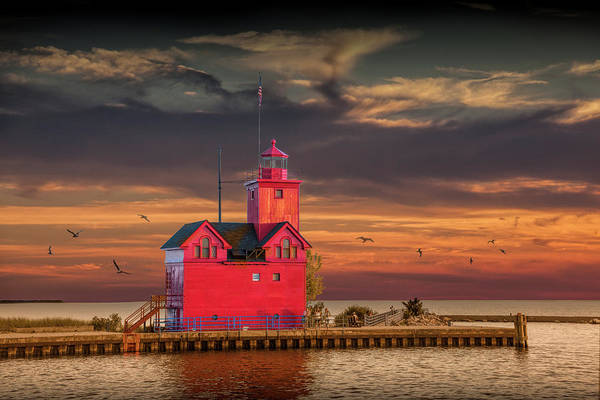 Photograph - The Big Red Lighthouse At Sunset On Lake Michigan By Ottawa Beac by Randall Nyhof