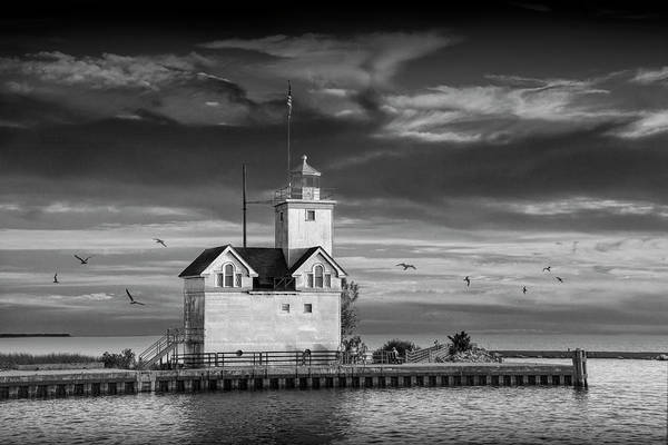 Photograph - The Big Red Lighthouse In Black And White At Sunset On Lake Mich by Randall Nyhof
